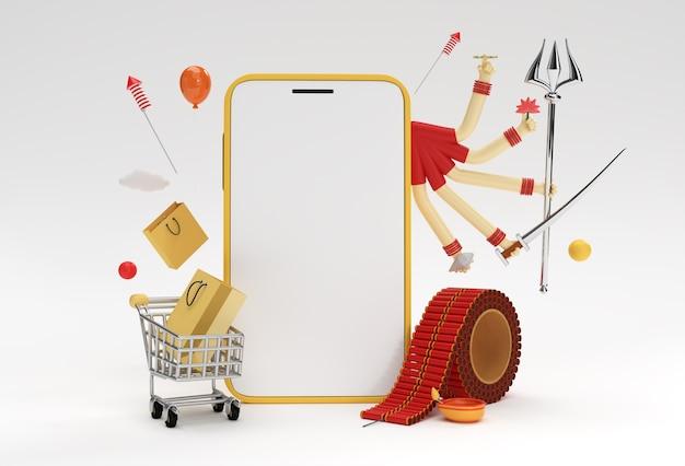 Rendering 3d happy durga puja & diwali smartphone mockup moderni e minimalisti per la presentazione display products advertising design.