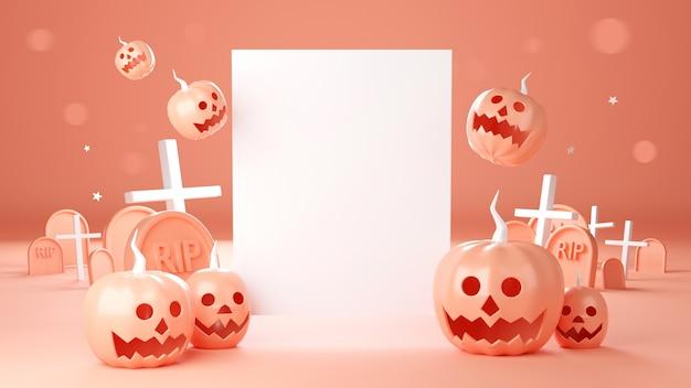 Rendering 3d di happy halloween, jack testa di zucca