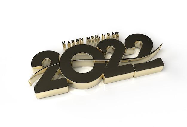 Rendering 3d felice anno nuovo 2022 testo tipografia design strumento penna creato tracciato di ritaglio incluso in jpeg facile da comporre.