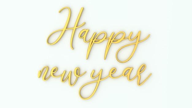 3d rendono felice anno nuovo scritte d'oro