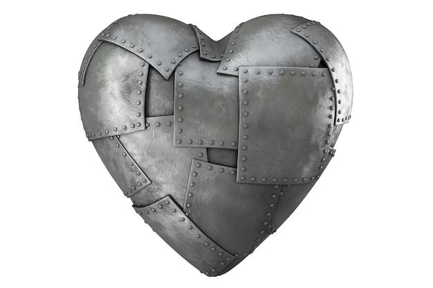 Rendering 3d di forma di cuore con le ali isolate su sfondo bianco.