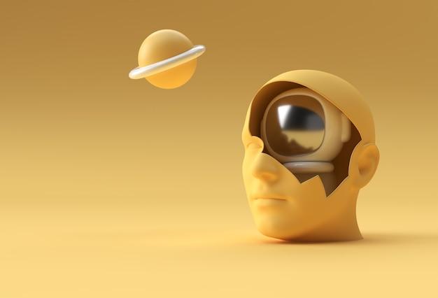 3d rendono il volto umano nella progettazione dell'illustrazione 3d dell'astronauta cosmonauta.