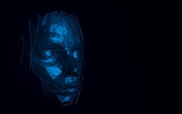 3d render viso umano con struttura web astratta