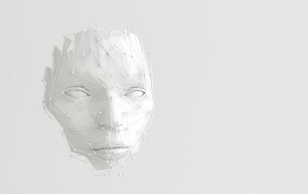 3d render volto umano con struttura web astratta