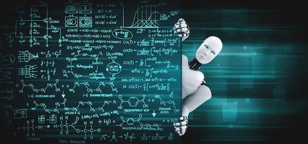 3d render robot umanoide si presentano dalla lavagna educativa in aula
