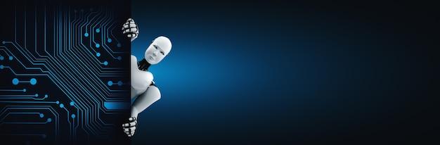 Il robot umanoide di rendering 3d si presenta dal muro