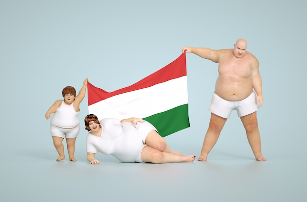 Rendering 3d concetto di obesità ungherese - famiglia grassa con bandiera