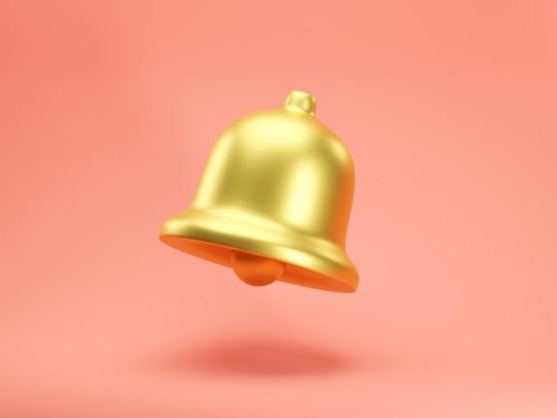 3d render icona della campana di notifica dorata isolata su sfondo rosa