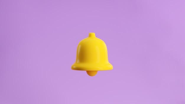 3d render icona della campana di notifica gialla isolata su sfondo pastello