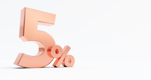 Illustrazione di rendering 3d. bronzo cinque per cento su sfondo bianco.