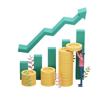 3d rendono l'illustrazione del concetto di investimento aziendale