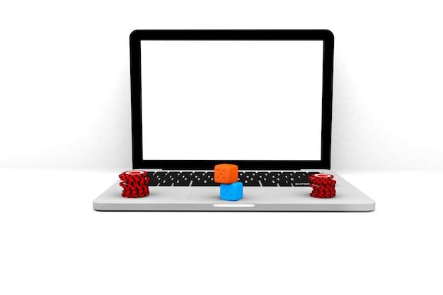 3d render illustrazione. computer portatile casino online. computer portatile di internet del gioco d'azzardo in linea di concetto.