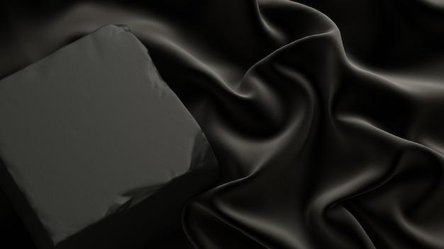 3d rendono l'illustrazione sfondo cosmetico per la presentazione del prodottopodio in pietra con tessuto nero