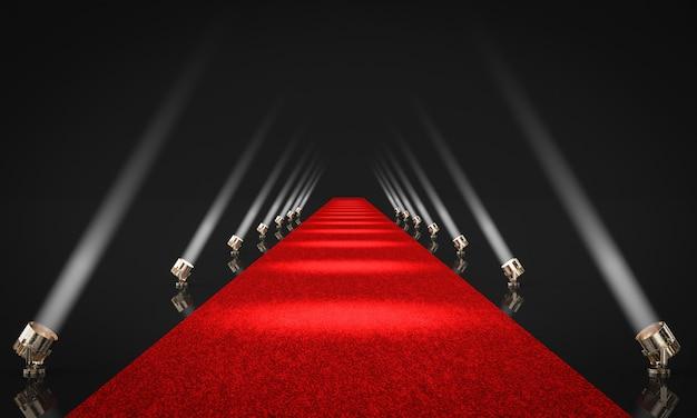 3d rendono l'illustrazione di un'entrata con tappeto rosso