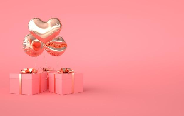 3d render illustrazione di lamina d'oro lucido cuore palloncino, confezione regalo con fiocco dorato su sfondo rosa