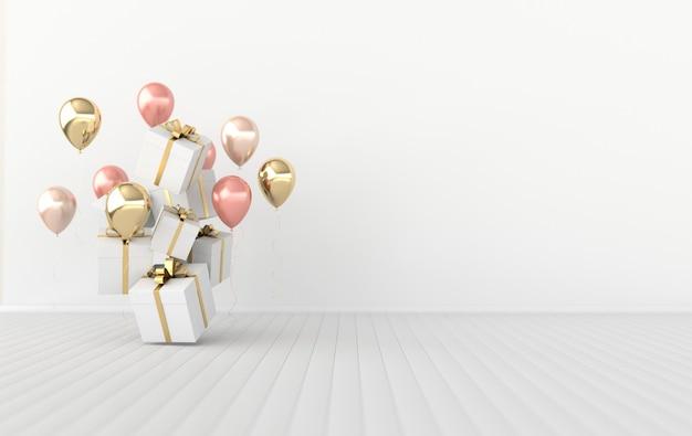 Illustrazione rendering 3d di palloncini colorati lucidi e confezione regalo