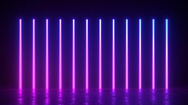 Illustrazione di rendering 3d di linee verticali incandescenti, luci al neon, sfondo retrò vintage astratto, ultravioletti, colori vibranti dello spettro, spettacolo laser