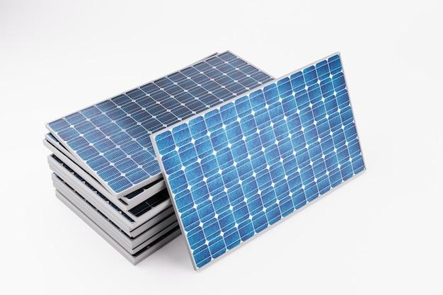Illustrazione rendering 3d del gruppo di pannelli di batteria solare impilati