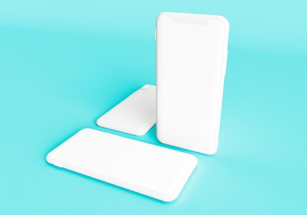 3d rendono l'illustrazione mano che tiene lo smartphone bianco con schermo intero e cornice moderna meno desi