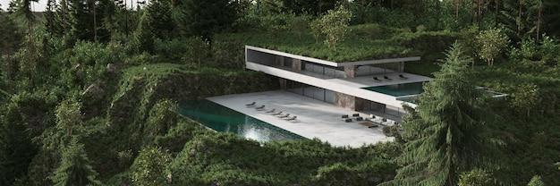 Illustrazione di rendering 3d vista panoramica del paesaggio della natura di progettazione di architettura minima
