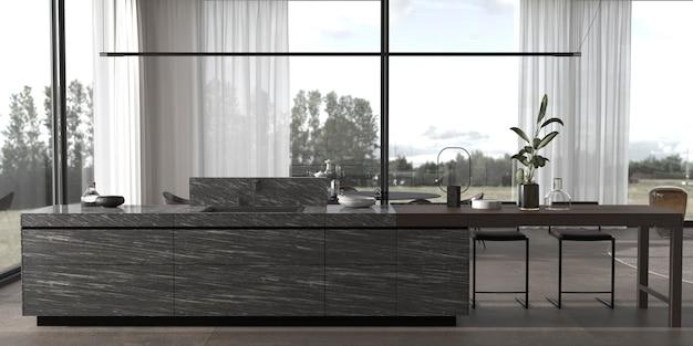 3d rendono l'illustrazione moderna sala da pranzo minimal interior design.