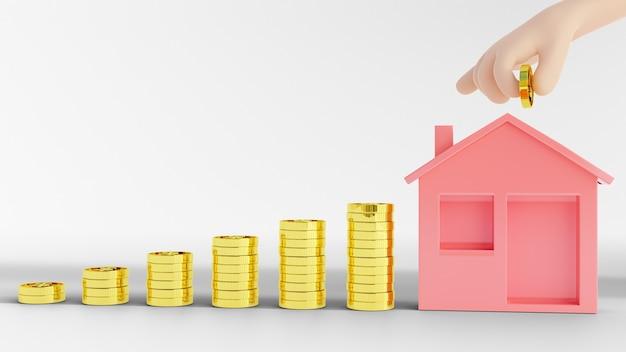 Illustrazione rendering 3d. risparmio di denaro per comprare casa. concetto di investimento immobiliare.