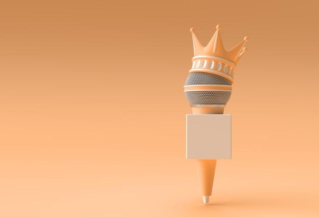 3d render illustrazione corona turchese con microfoni di notizie isolati su sfondo a colori