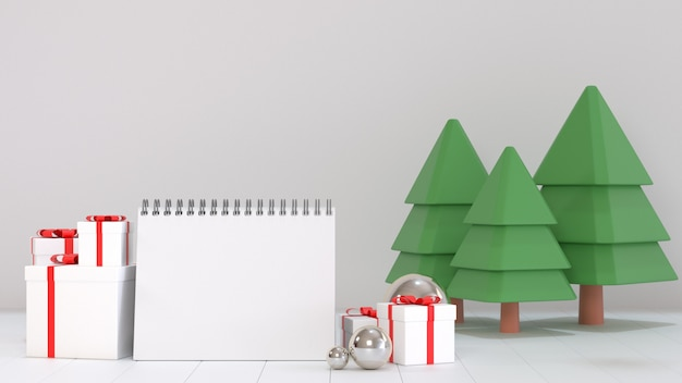 3d rendono l'immagine della carta in bianco del calendario per l'obiettivo del prossimo anno decorano con le scene dell'ornamento di natale.