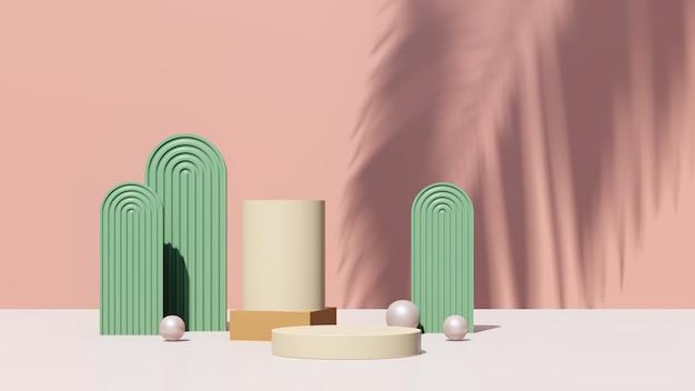 Immagine di rendering 3d podio marrone crema con pubblicità display prodotto sfondo rosa verde