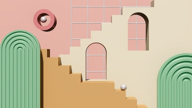 3d rendono l'immagine crema marrone scale podio con sfondo rosa verde display del prodotto pubblicità