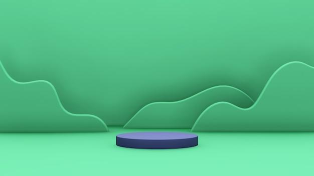 Immagine di rendering 3d podio blu scuro con sfondo a forma di montagna verde per la visualizzazione del prodotto