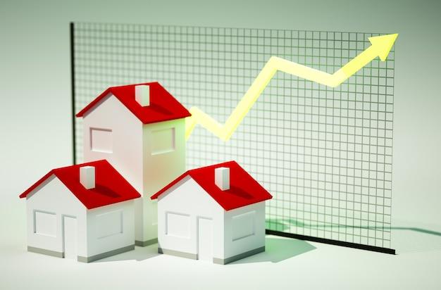 Immagine di rendering 3d di case con grafico in crescita