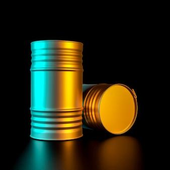 3d rendono l'immagine di un paio di barilotti di metallo