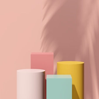 Immagine di rendering 3d podio giallo verde rosa con pubblicità display prodotto sfondo rosa