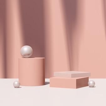 Immagine di rendering 3d podio rosa con pubblicità display prodotto sfondo rosa