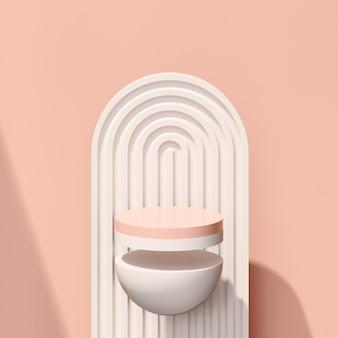 Immagine di rendering 3d podio rosa e bianco con pubblicità di visualizzazione del prodotto di sfondo rosa