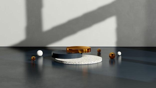 Immagine di rendering 3d terrazo blu e oro podio con display del prodotto di sfondo bianco e blu scuro