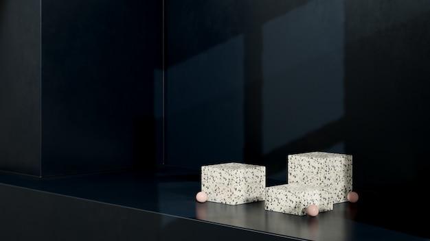 Immagine di rendering 3d podio terrazo con display prodotto sfondo scuro chiaro finestra palla bianca rosa
