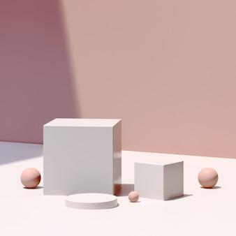 Immagine di rendering 3d podio bianco con pubblicità display prodotto sfondo rosa