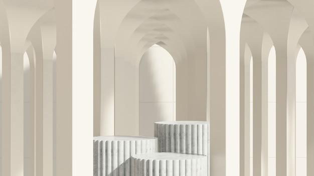 Immagine di rendering 3d podio bianco con pubblicità di visualizzazione del prodotto di sfondo bianco