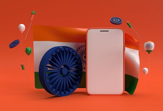3d render bandiera dell'india con smartphone mockup design.