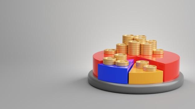 Rendering 3d di infografica con monete d'oro