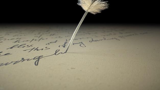 3d rendono la penna dell'inchiostro scrive la poesia su vecchia carta