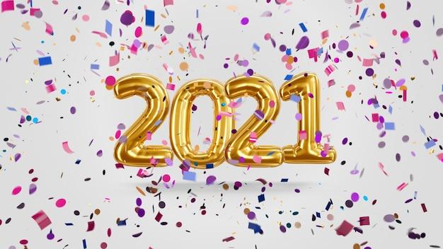 Rendering 3d iscrizione 2021 da palloncini d'oro su sfondo bianco con caramelle