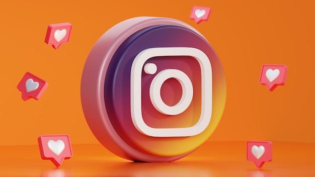 3d render logo instagram con notifica d'amore in giro su sfondo arancione