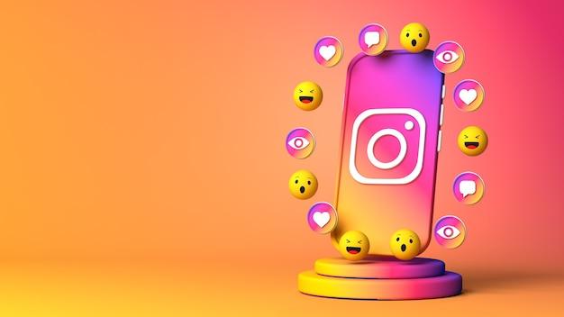 Rendering 3d di instagram con copy space