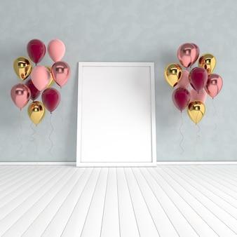 3d render interno con realistici palloncini oro, rossi e rosa, mock up poster in camera.