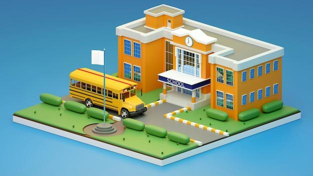 3d render isometrico., scuola e scuolabus., illustrazione 3d.