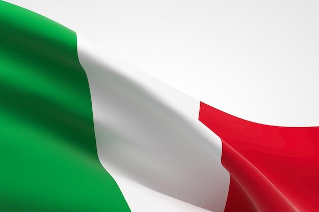 Rendering 3d della bandiera italiana che sventola.