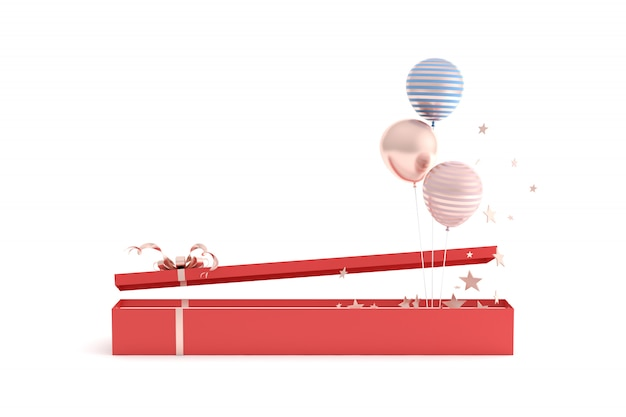 Rendering 3d di grande confezione regalo e palloncini su sfondo bianco.